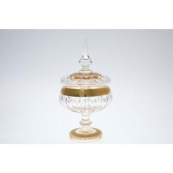 Конфетница с крышкой хрусталь с золотом bohemia max crystal 15 см