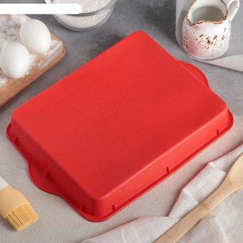 Форма для выпечки «прямоугольник», 30x22 см, с ручками, цвет микс