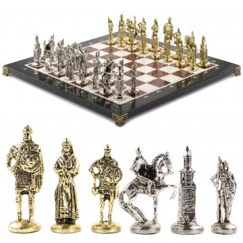 Шахматы русь доска 40х40 см из мрамора лемезита