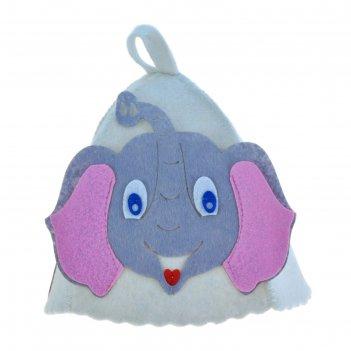 Шапка банная детская с аппликацией слонёнок, войлок (80% шерсть, 20% полиэ