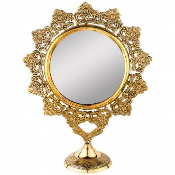 Зеркало настольное 26*10 см. высота=33 см. латунь (кор=24шт.)