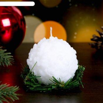 Декоративная свеча снежок на елке 1шт