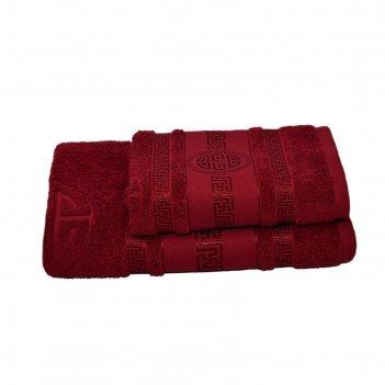 Полотенце махровое спартак 70х140 +/- 2 см, бордовый, хлопок 100%, 430г/м2