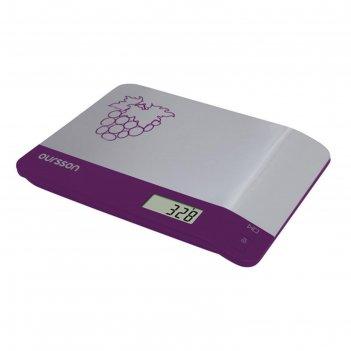 Весы кухонные oursson ks0505md/sp, электронные, до 5 кг, 2хааа, серебристо