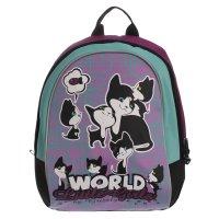 Рюкзак школьный на молнии, 1 отдел, фиолетовый/бирюзовый