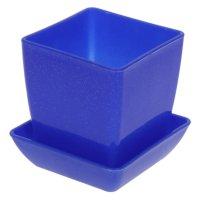Горшок для цветов с поддоном синий  мрамор  75*75 мп