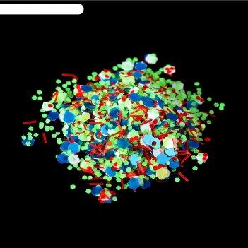 Камифубуки/крошка для декора ногтей, цвет голубой/зелёный/красный