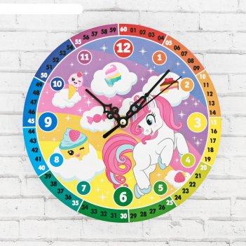 Часы настенные обучающие единорог, 20 см