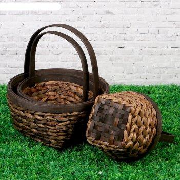 Набор корзин плетеных, 3 шт, прямоугольные, 26,5 х 13,5 х 31,5 см