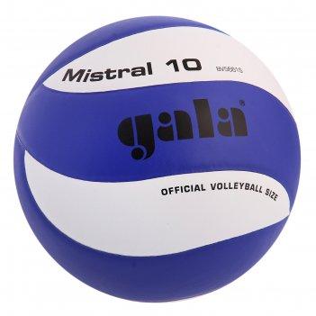 Мяч волейбольный gala mistral 10, р.5, бело-синий