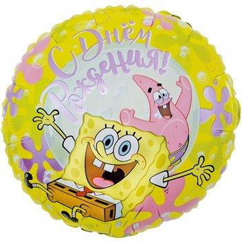 Шар фольгированный 18 круг губка боб, с днем рождения! желтый