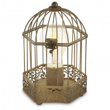 Настольная лампа harling 1x60вт e27 коричневый 14x14x23,5см