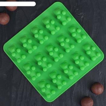 Форма для мармелада «медвежата», 15 ячеек (4,5x2,5x2 см), 18x2 см, цвет ми