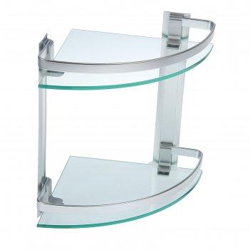 Полка 2х-ярусная угловая для ванной комнаты, алюминий, стекло 25х25х29 см