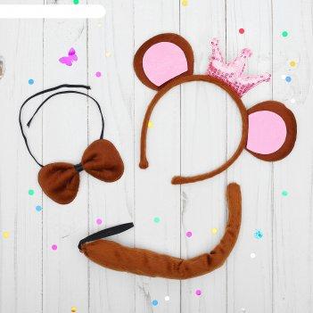 Карнавальный набор обезьянка 3 предмета: ободок, бабочка, хвост