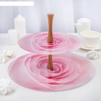 Этажерка 2 яруса розовая роза, плоская, в подарочной упаковке