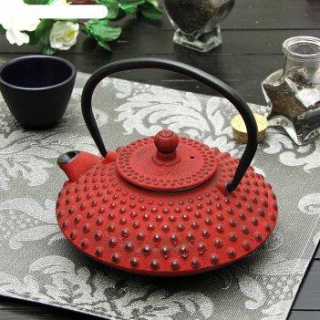 Чайник чугунный 800 мл восточные цветы, красный