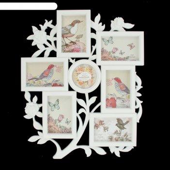 Фоторамка на 7 фото 10х10, 10х15 см розовый сад белая 56х46х3 см
