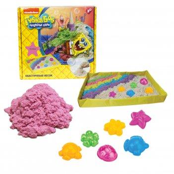 1toy губка боб, космический песок, розовый, 1 кг, набор песочница и формоч