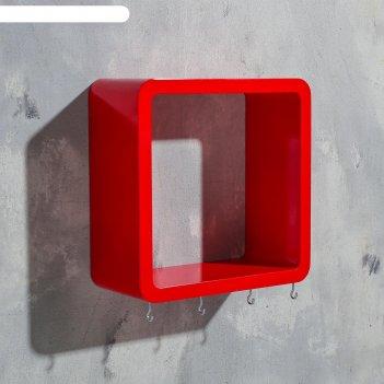 Ключница-полка квадрат 4 крючка, красная,средняя  22х22см