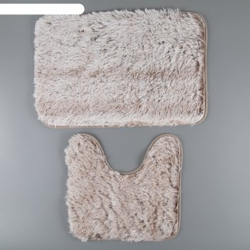 Набор ковриков для ванны и туалета «пушистик», 2 шт: 38x40, 40x60 см, цвет