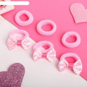 Резинка для волос бантик (набор 6 шт) горошек 3 см, розовый