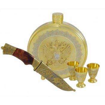 Набор охотничий герб рф ( фляга, нож, 3 стопки ) златоуст