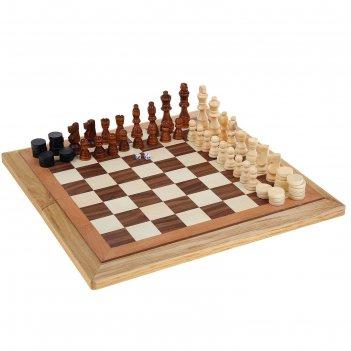 Игра настольная подарок 3 в 1 нарды шахматы шашки дерево, игр поле 40*40см