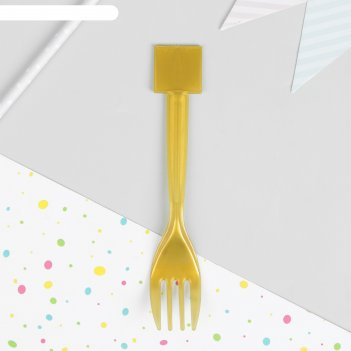 Вилка пластиковая, набор 10 шт, цвет золото