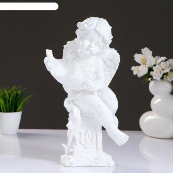 Статуэтка ангелочек с чашей белый