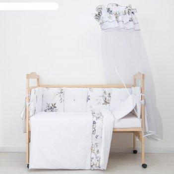 Комплект в кроватку (10 предметов), принт голубые цветы 35