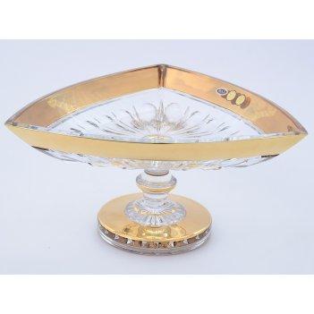 Фруктовница 30 см на ножке max crystal золото