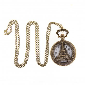 Карманные часы эйфелева башня, кварцевые, на цепочке 80см, d=4,5см