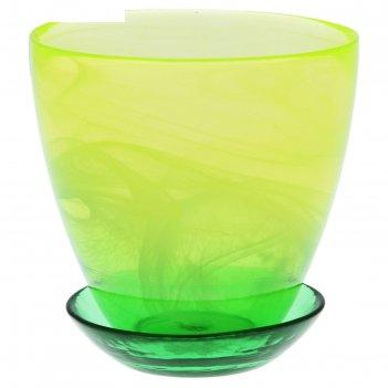 Горшок для цветов гармония №2 с поддоном, алебастр, 0,7 л, цвет зеленый ма