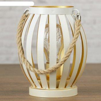 Лампа настольная лофт фонарь белый 3аа 14,5х15,5х17 см