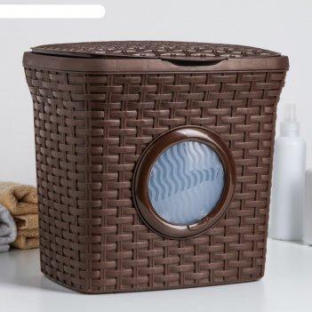 Контейнер для стирального порошка с иллюминатором 10 л ротанг, цвет коричн