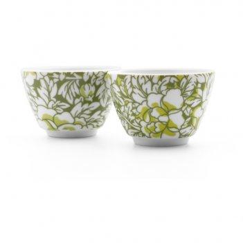 Набор пиал для чая bredemeijer yantai d7,5см, 100мл, 2 шт, фарфор, зеленые
