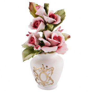 Декоративная корзина с цветами 10*10 см. высота=14 см.