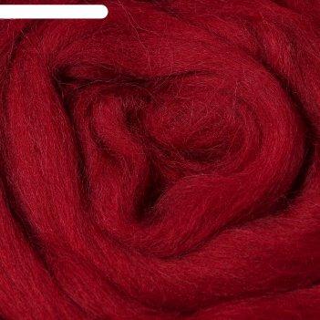 Шерсть для валяния 100% полутонкая шерсть 50 г (091, вишня)