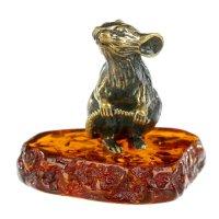 Сувенир из латуни и янтаря мышонок трусишка