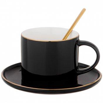 Чайная пара с ложкой lefard break time 250 мл черная (кор=24наб.)