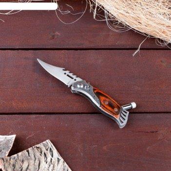 Нож складной автоматический, рукоять - дерево (с кнопкой, фиксатором и фон
