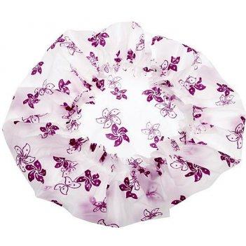 Шапочка dbh2 для душа без кружева белая с фиолетовыми цветами