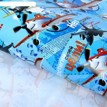 Бумага упаковочная глянцевая самолеты, 70 х 100 см