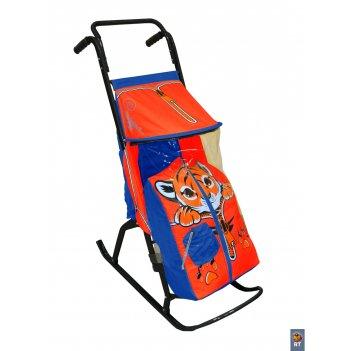 Санки-коляска снегурочка-2-ртигренок син-красн