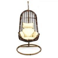 Подвесное кресло-качели на стальной штанге, иск. ротанг, коричневый/бежевы