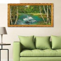 Гобеленовая картина  белые лебеди у берёзок  80*40см