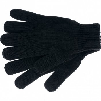 Перчатки трикотажные, акрил, двойные, черный, двойная манжета россия сибрт