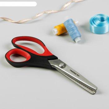 Ножницы «зиг-заг. волна», 23 см, лезвие - 9 см, цвет чёрный/красный, au 49
