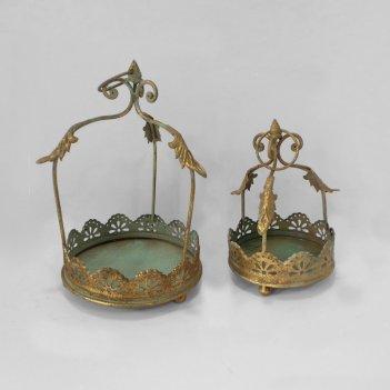 Кашпо подвесное, пара,  для цветов  декоративное,  золотая патина